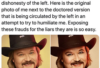 "Lets this be a lesson to everyone over the age of 45. If you amplify the trolls who are trolling you, expect more people to pile on, it's simple internet mechanics. If you show any sign of weakness, you're 'enemy' has already won. Country singer Travis Tritt learned this lesson first hand over the weekend when people started meme-ing a <a href=""https://www.ebaumsworld.com/pictures/23-trolls-from-the-photoshop-master/85800366/""><strong>photoshopped image</strong></a> of him wearing make-up."