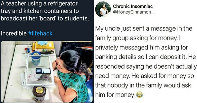 teacher using refrigerator tray - A teacher using a refrigerator tray and kitchen containers to broadcast her 'board' to students. Incredible | Chronic Insomniac My uncle just sent a message in the family group asking for money. I privately messaged him a