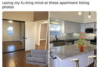 "The apartment looks pretty nice, until they decided to add a little personal touch with photoshop. Though this isn't the worst house out there on the market, the photoshop job might be one of the worst we've seen online. It may not be the <a href=""https://www.ebaumsworld.com/pictures/25-of-the-weirdest-images-from-the-legendary-groverhaus-thread/86355088/""><strong>Groverhause</strong></a>, but is one to were going to remember for some time."