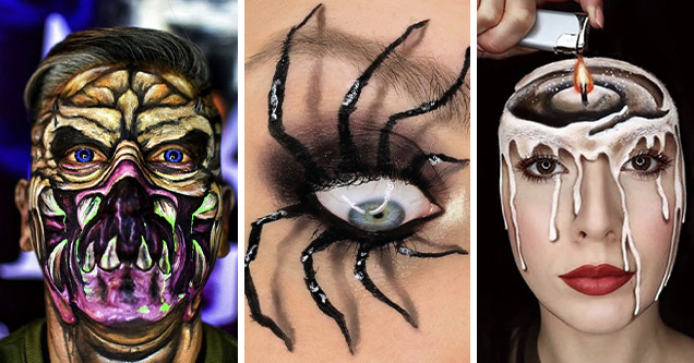 scary and cool pic of hypo-realistic makeup artists | scary pictures- makeup-  head | spider eyelashes makeup | candle makeup
