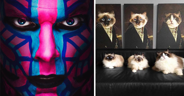 funny memes and pics |a person with colorful face paint on and 3 cats and their dapper portraits