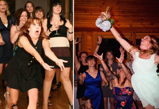 "The bouquet toss is a time-honored tradition at <strong><a href=""https://www.ebaumsworld.com/pictures/55-most-hilarious-awkward-wedding-photos/85675545/"" target=""_blank"">weddings</strong></a> - for those who don't know about it (possibly in non-Christian parts of the world), it's when the bride turns around and tosses her bridal bouquet to a crowd of bridesmaids and other female guests standing behind her. Supposedly, the person who catches it will be the next to get married. <br></br>Generally speaking the bouquet toss is just a fun little ceremony to add extra color to the wedding, but some people - perhaps desperate to kickstart their own matrimonial bliss - take it VERY seriously and go all-out trying to catch it."