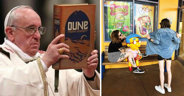 the pope holding up a copy of dune the book - woman flashing milhouse from the simpsons