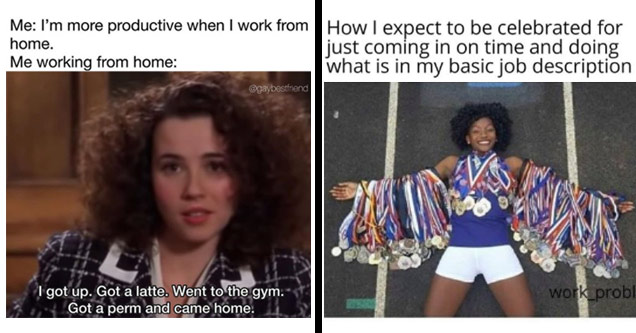 work meme about being more productive working from home and work meme with an Olympian with tons of medals and how an employee wants to be treated for doing normal job