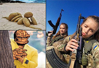 man rubbing his hands meme - rock man looking at a rock woman - cute Ukrainian military girls