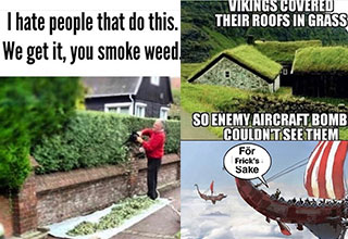 funny memes and pics - i hate people that do this, we get it you smoke weed - viking built their houses under grass so bombers wouldnt see them