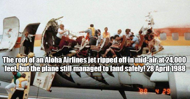 """amazing pics and cool randoms -  """"The roof of an Aloha Airlines jet ripped off in mid-air at 24,000 feet, but the plane still managed to land safely! 28 April 1988."""""""