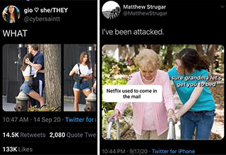 funny posts and tweets from this week on twitter | photo caption - gio sheThey What S N Wavalle 14 Sep 20 Twitter for iPhone 2,080 Quote Tweets | friendship - Matthew Strugar I've been attacked. sure grandma let's get you to bed Netflix used to come in th