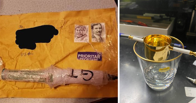 alcohol measuring cup jigger - strange package syringe in the mail