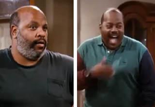 Uncle Phile (James Avery) surprises Carl Winslow (Reginald VelJohnson) on set of 'Family Matters'