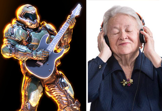 doomguy playing the guitar - old woman listening to music