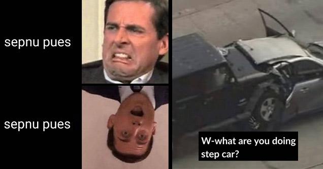 a dank meme about Michael Scott send nudes step car