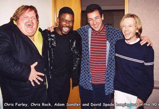 chris farley chris rock adam sandler and david spade hanging out in the 90s