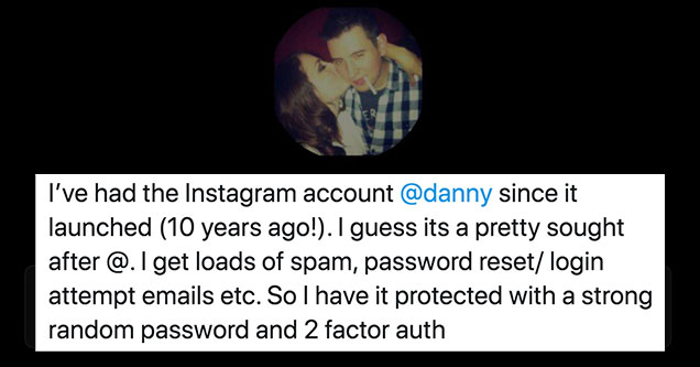 guys named Dany says a facebook employee helped hack and give away his handle