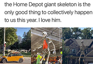 the Home Depot skeleton is the only good thing to collectively happen to us this year i love him