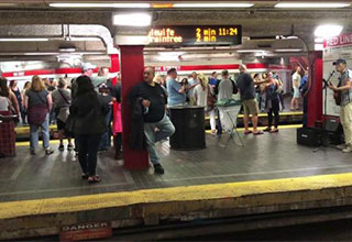 entire subway station sings along to Sweet Caroline in Boston