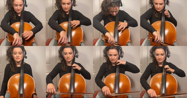 a woman playing the cello in 8 different frames | theme song for xmen animated series on cello