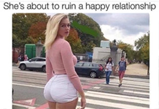 a hot blonde with a big butt and a meme about ruining a relationship