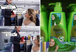 funny memes and pics - would you like a drink? What are my options? yes or no - shampoo bottle with a woman in a green headscarf