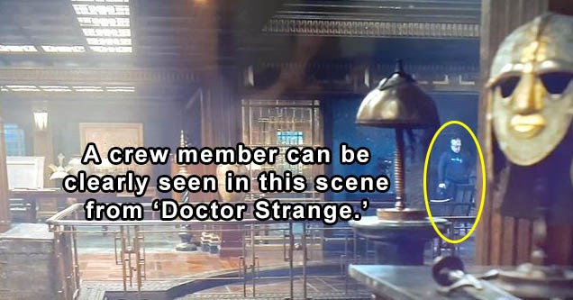 A crew member can be clearly seen in this scene from 'Doctor Strange'   doctor strange movie mistakes - s' Doctor Strange Or 11 17