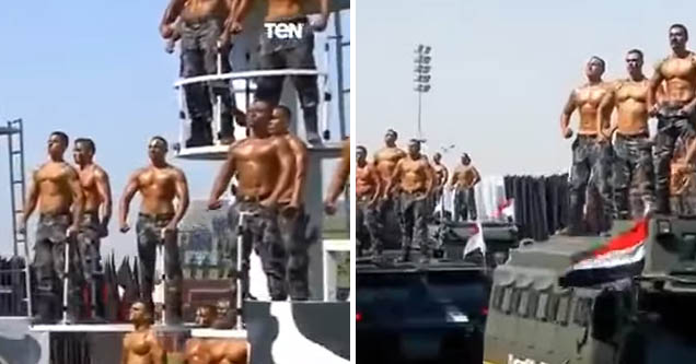 Egyptian military's parade featuring buff, shirtless soldiers looking pretty homoerotic