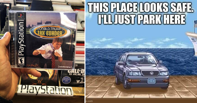 donald trump's tax evader tony hawk's pro skater video game meme - street fighter II meme car - this place looks safe. I'll just park here