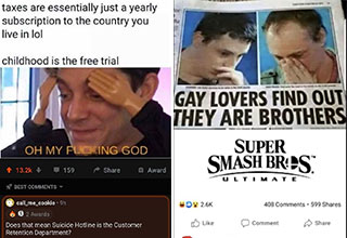 clever people leaving funny comments -  taxes are essentially a yearly subscription service to the country you live in childhood was the free trial - gay lovers find out they're brothers - smash brothers ultimate