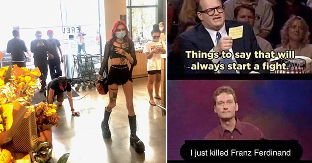 funny memes and pics -  a woman leading her boyfriend through a grocery store on a leash - whose line is is anyway - things you would say to start a fight -  i killed Franz Ferdinand
