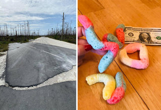 road blown off the ground by storm - freeze dried gummy worms