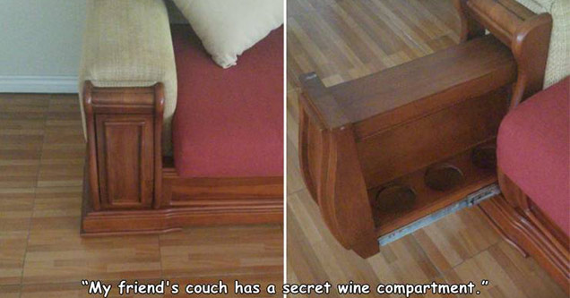 funny pictures | my friends couch has a secret weapon hidden cup holders in a sofa