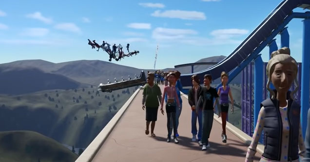 a screenshot from planet coaster with park goers going flying