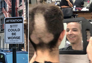 attention shit could be worse. you're not dead - guy with penis shaved into his head