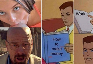 funny memes and pics -  walter white having his head sucked - how to make money, work, crying cartoon man meme