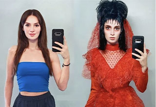 cool pics and funny memes -  Halloween witch costume before and after