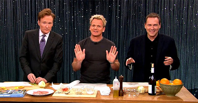 conan gordon ramsay and norm mcdonald cook together on late night