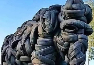 elephant tire sculpture