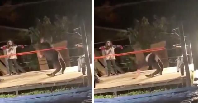 backyard wrestler leg broken backwards fail video