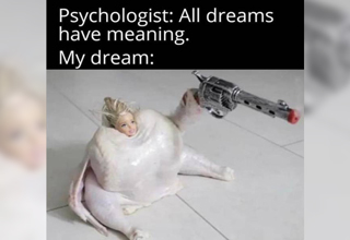 psychologist: all dreams have meaning. my dream: barbie doll head raw chicken holding toy gun