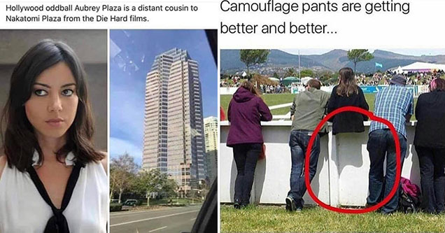dumb jokes from clever people -  aubrey plaza is related to a real building plaza -  damn camo pants are getting really good