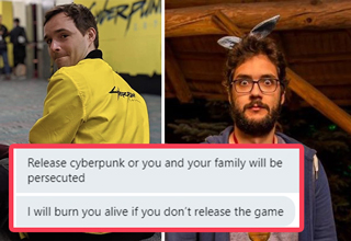 "Now that <strong><a href=""https://gaming.ebaumsworld.com/pictures/cyberpunk-2077-delayed-until-december-10th-fans-lose-their-minds/86427296/""><em>Cyberpunk 2077</em></a></strong> is delayed yet again (this time until December 10th, or until the next delay...) some fans are raising the stakes for developers. </br> </br> One guy working on the game shared a screenshot of messages he received from someone threatening to burn down his house and <strong><a href=""https://www.ebaumsworld.com/pictures/duolingo-bird-memes-threatening-to-murder-your-family/85934341/"">murder his family</a></strong> if he didn't ""release Cyberpunk immediately."" Supposedly other developers got these messages too. </br> </br> That might sound a bit extreme, but keep in mind this is the fourth time the release date has been pushed back, so people are feeling like they're being messed with now. Of course those people also <strong><a href=""https://gaming.ebaumsworld.com/pictures/23-spot-on-gaming-memes-to-stoke-the-pc-vs-console-wars/86388579/"">wear diapers</a></strong> so they can game for 69 hours straight."