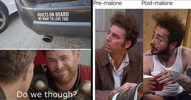 dank memes | thor ragnarok meme face - Adults On Board We Want To Live Too Do we though? | zoom profile picture meme - Premalone Postmalone brokeromeo