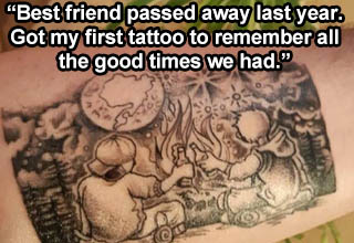 "These tats were definitely inked with love. <br></br>The internet is bursting with examples of <strong><a href=""https://www.ebaumsworld.com/pictures/25-tattoos-of-instant-regret/85808142/"" target=""_blank"">awful tattoos</a></strong>, but there are lots of great ones too. Tattoos can be used to commemorate a special person or remind you of a particular time in your life. <br></br>Each of these tattoos have a beautiful story behind them. Some will make you smile, others might put a lump in your throat."