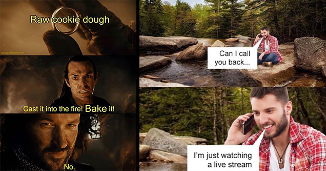 random funny memes | lord of the rings memes funny - Raw cookie dough Cast it into the fire! Bake it! No. | watching live stream meme - Can I call you back... I'm just watching a live stream Fiel