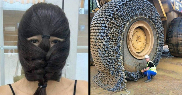 fun and random pictures |a girl with her hair braided in front of her face and a man putting a chain on a huge tire