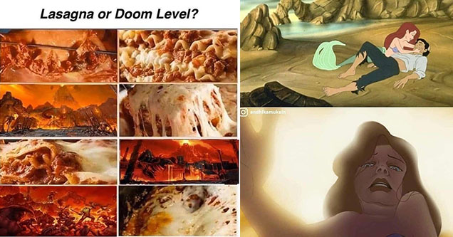 cool pics and memes -  lasagna or doom level? funny little mermaid photoshop
