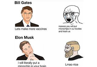 dank memes and pics -  bill gates lets make more vaccines -  nooo you'll put chips in our body -  Elon Muck I will literally put a microchip in your brain -  lamo nice