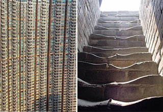 fascinating photos - picture of a huge hong kong apartment building and old worn down steps on the great wall of china
