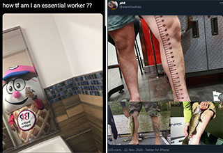 funny takes from twitter -  how tf am I an essential worker? - guy with a ruler tattoo on his leg to measure fish with