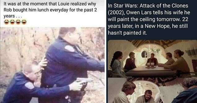 dumb jokes and memes -  skinny officer taking cover behind a fat officer -  Luke's father lars in Star Wars never got around to painting the ceiling