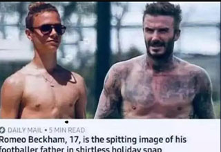 dumb jokes - David Beckham and his son look alike - I thought that was his wife with her tits out